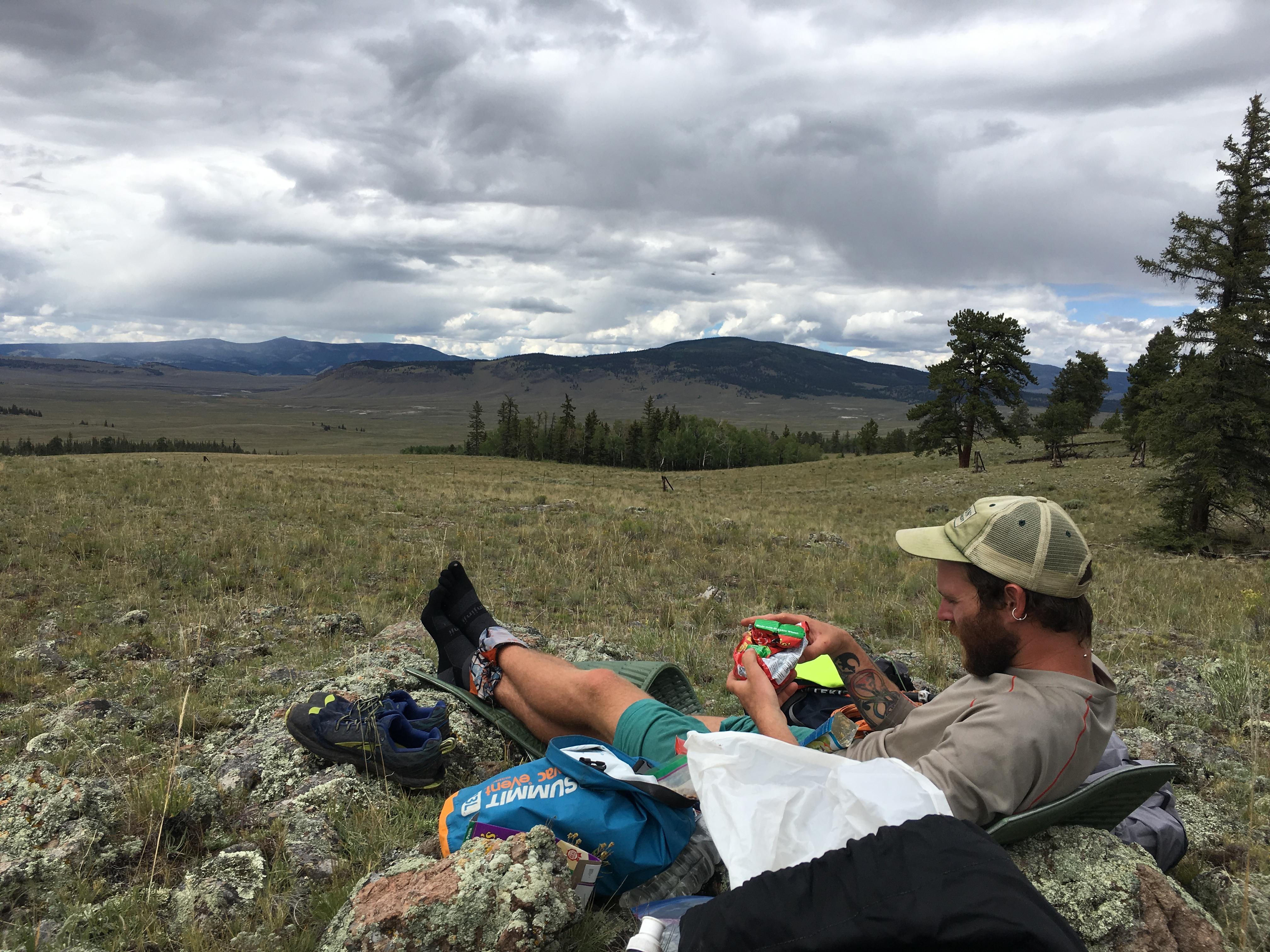hiker eating